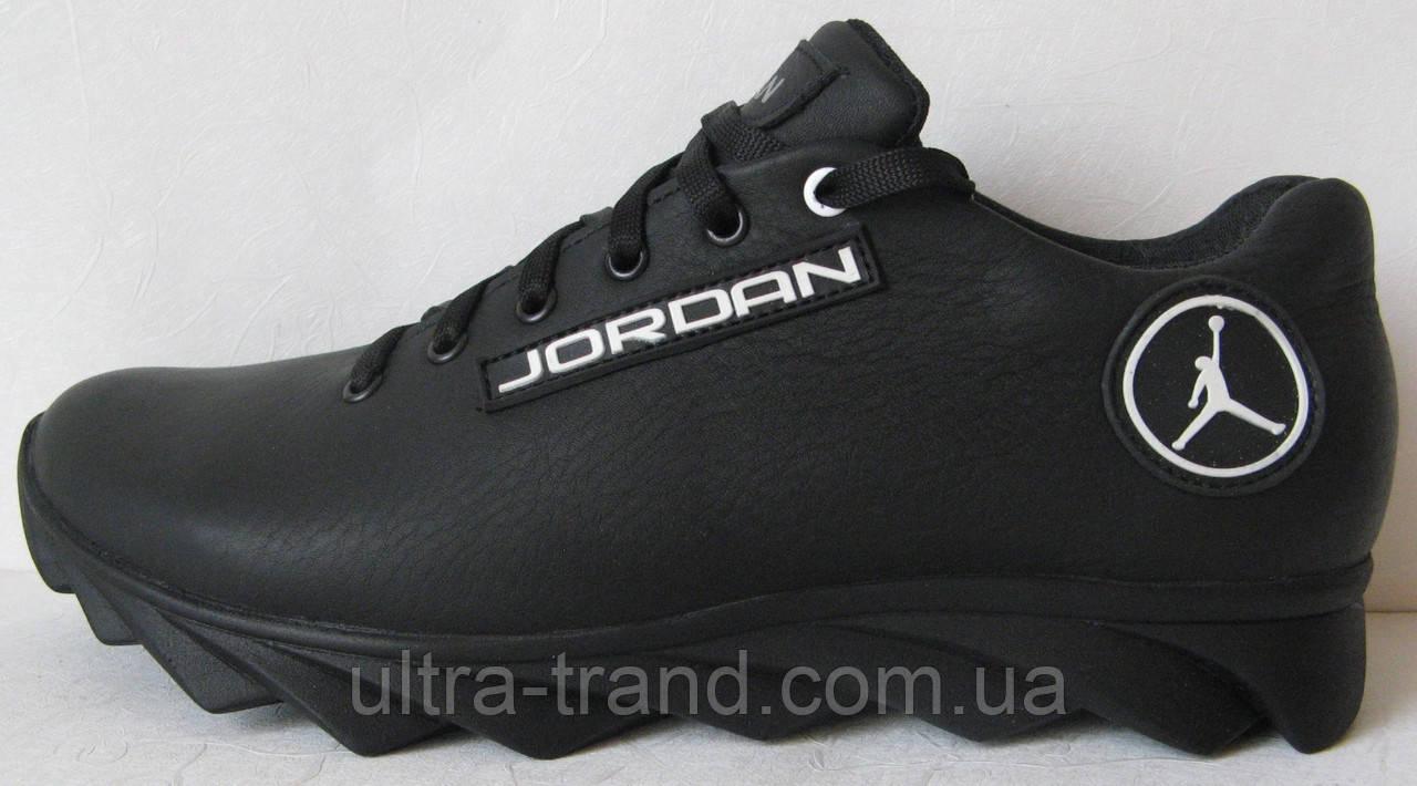Мужские кожаные кроссовки Jordan чёрная кожа
