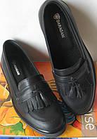 Стильные женские классические туфли в стиле Loafer Santoni черная кожа