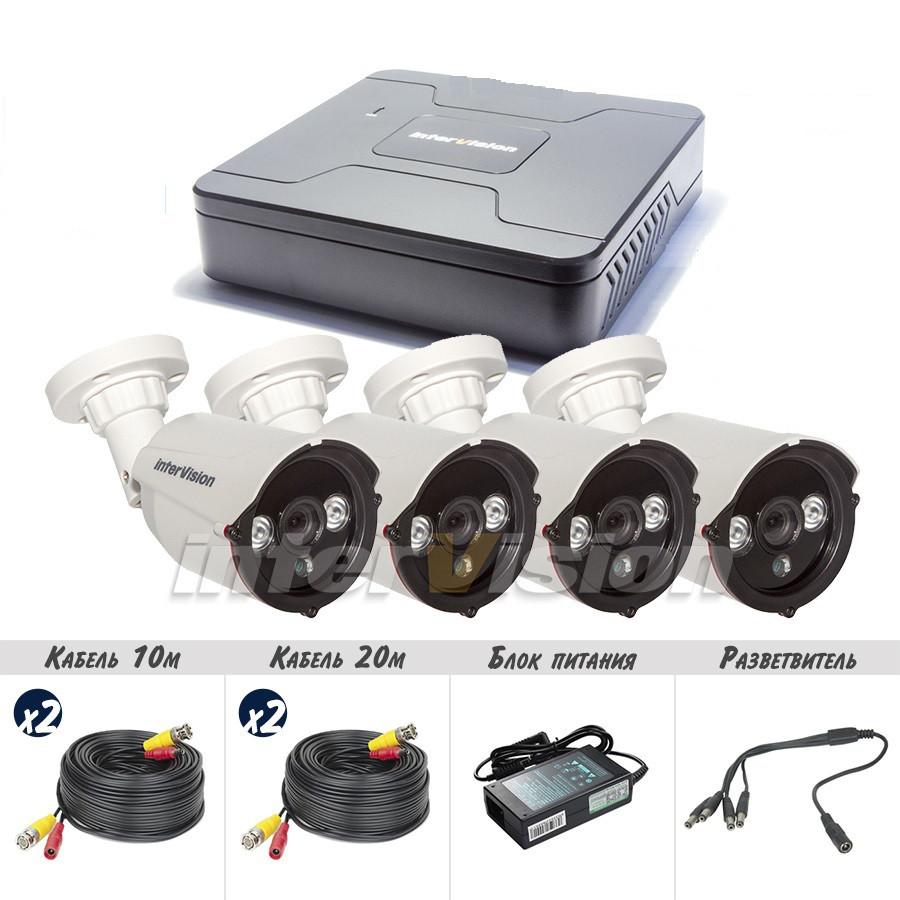 KIT-4124 Полный! комплект видеонаблюдения цифровые видеокамеры  2.4 Mp + видеорегистратор