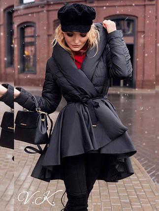 Молодёжное демисезонное пальто на запах из плащевки с капюшоном, фото 2