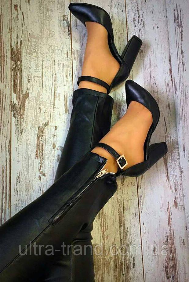 Mante! Женские кожаные босоножки  каблук 10 см черная кожа