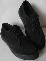 Женские кеды  в стиле Timberland oxford черный замш, фото 1