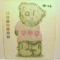 """Схема на водорастворимом флизелине """"Мишка Тедди"""" для вышивки бисером или нитками"""