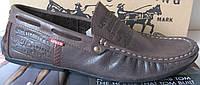 Стильные мужские кожаные мокасины Levis темно-коричневые кожа