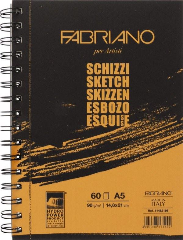Альбом для эскизов А5, на спирали, 148*210 мм, 90 г/м, 60 листов, Sketch, Fabriano, 165210