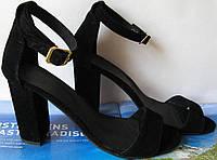 Viva лето! Женские стильные замшевые босоножки каблук 10 см кожа черные