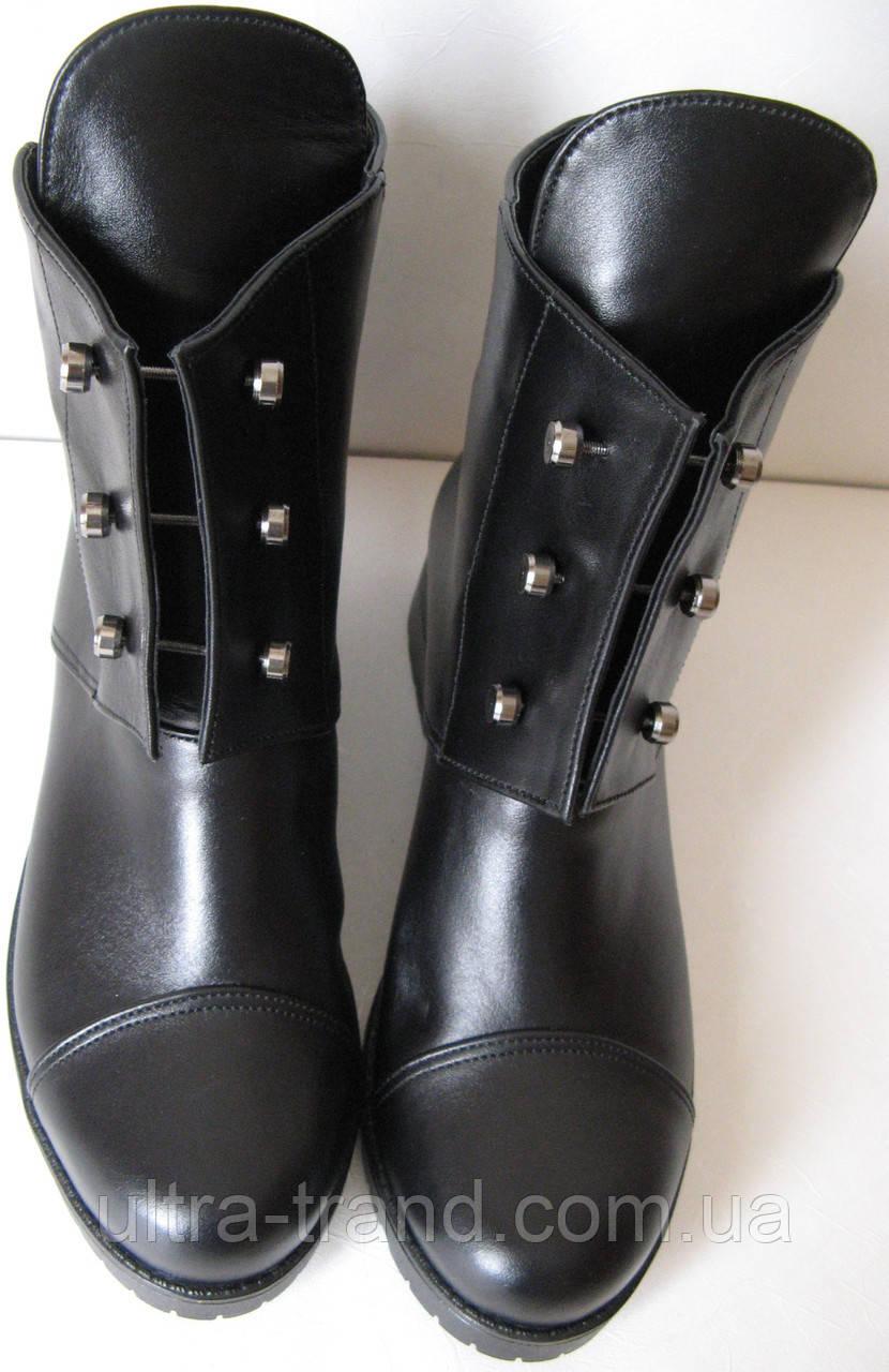Кожаные женские зимние ботинки Hermess черного цвета