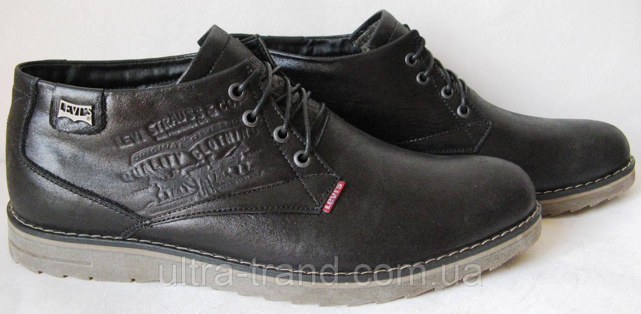 Зимние кожаные мужские ботинки Levis в черном цвете