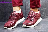 Женские кроссовки  REEBOK Classic Leather бордовые