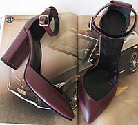 Mante! Женские кожаные босоножки  каблук 10 см марсала кожа