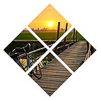 "4х-модульная картина в форме ромба ""Велосипед на мостике"""