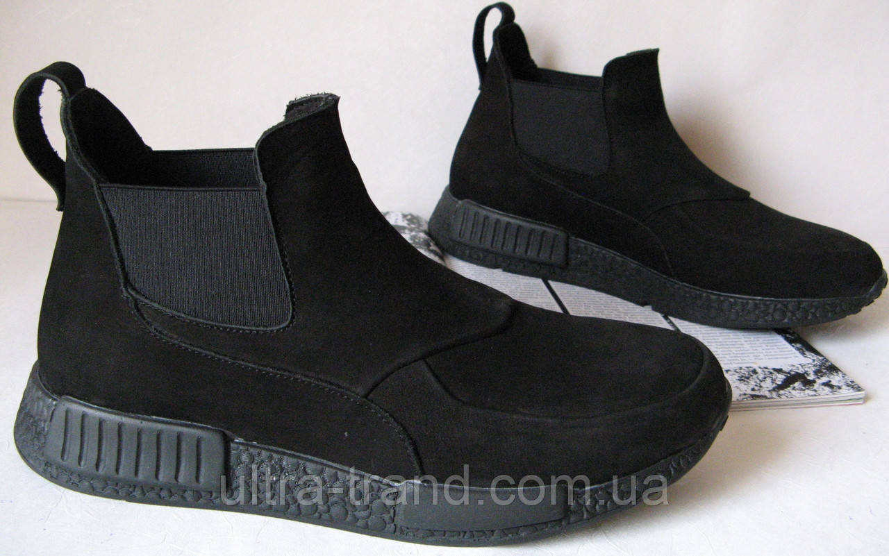 Зимниемужские ботинки Gross челси нубук зима
