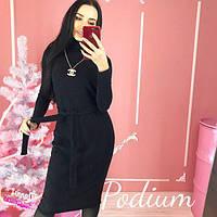 Теплое платье с горловиной черное, бордо