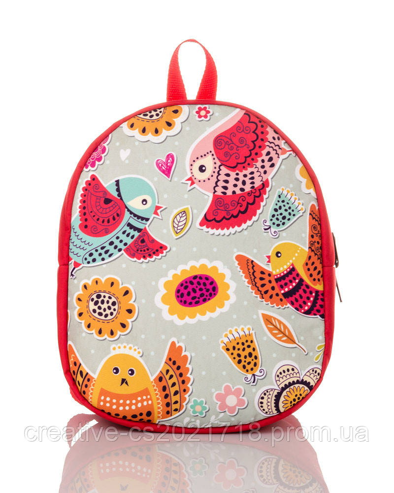 Детский рюкзачок Kiddi (птички, красный рюкзак)