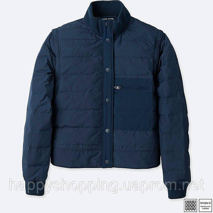 Женская темно-синяя куртка-жилетка на пуху весна осень Uniqlo