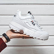Мужские и женские кроссовки Fila Disruptor 2 White белые + 10 цветов