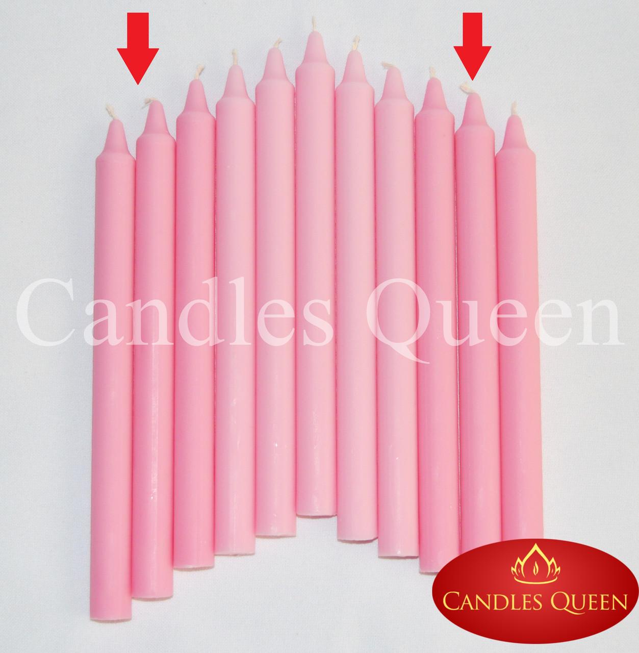 Свеча столовая розовая 240х20 мм