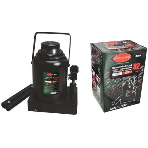 Домкрат бутылочный с клапаном + дополнительный ремкомплект, 32т (высота подхвата - 285мм, высота подъема - 465мм, ход штока - 180мм)