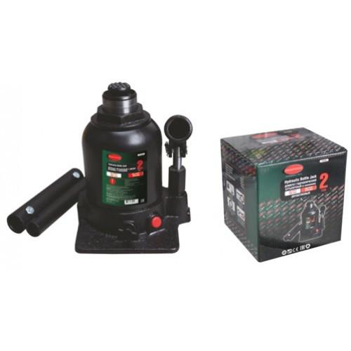 Домкрат бутылочный двухштоковый с клапаном + дополнительный ремкомплект, 2т (высота подхвата - 150мм, высота подъема - 370мм, ход штока - 160мм, ход в