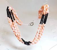 Бусы, коралл,розовый, черный хрусталь 5_5_261