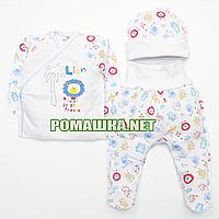 Костюмчик (комплект) на выписку р. 56 для новорожденного летний ткань КУЛИР-ПИНЬЕ 100% хлопок 3979 Голубой