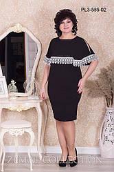 Женское платье с перелиной и кружевом черное большие размеры