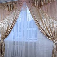 Плотные шторы с ламбрекеном для спальни