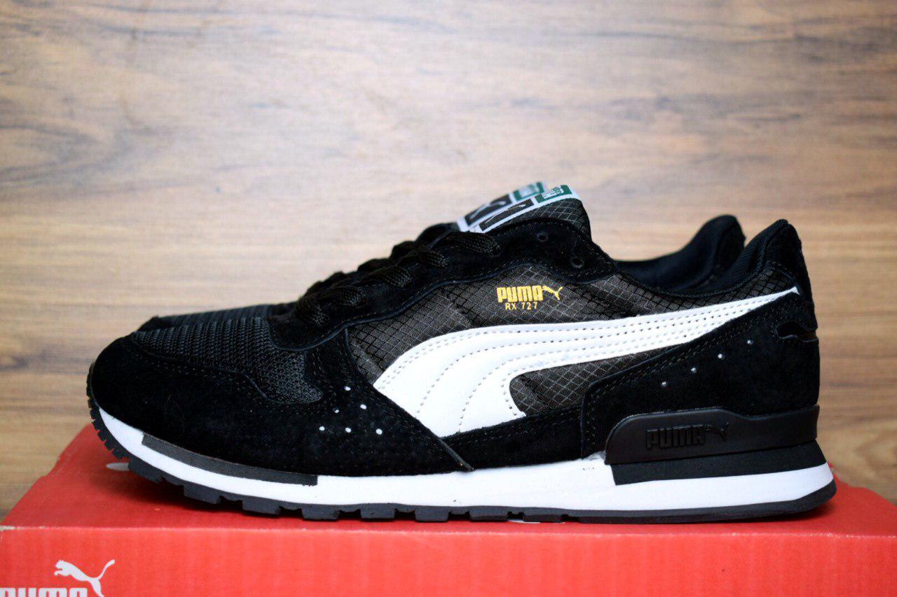 Мужские кроссовки Puma RX 727 черные с белым 1369 - Компания