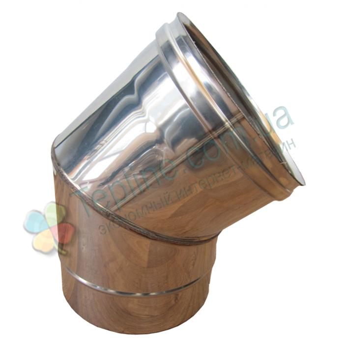 Колено 45° для дымохода d 220 мм; 0,5 мм из нержавеющей стали AISI 304 - «Версия Люкс»