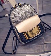 Стильный женский рюкзак золотистый, фото 1