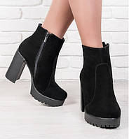 Ботильоны женские натуральный замш Sollorini (ботинки, каблук, комфорт, мех, зима)