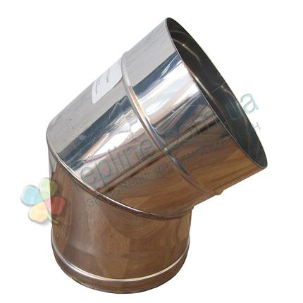 Колено 45° для дымохода d 200 мм; 1 мм из нержавеющей стали AISI 304 - «Версия Люкс», фото 2