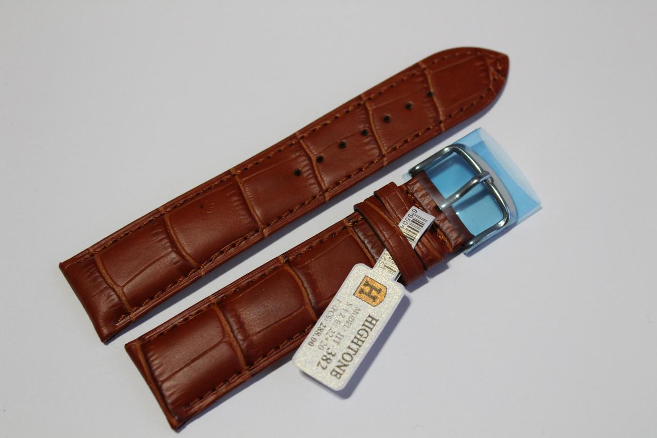 Кожаный ремень для  наручных часов HIGHTON-светло-коричневый крокодил 22мм.