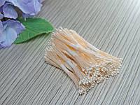 Тайские тычинки белые супер мелкие на персиковой нитке, фото 1