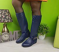 Сапоги женские резиновые с портупеей синие