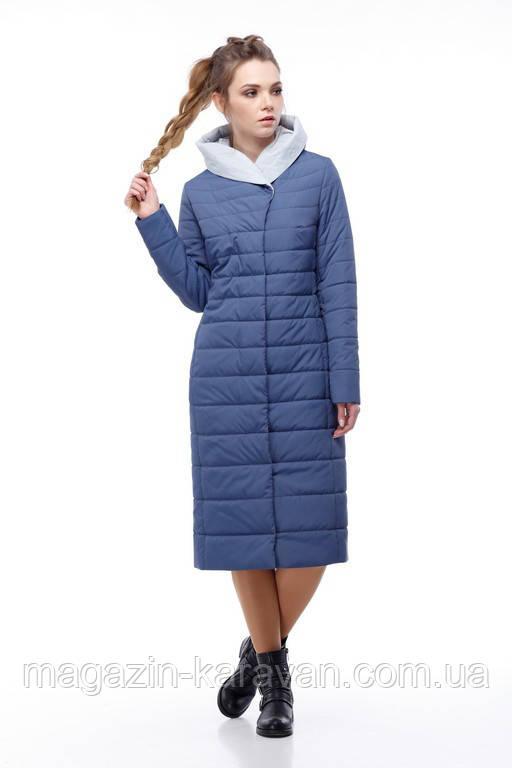 Пальто-плащ женский удлиненный Сима синий