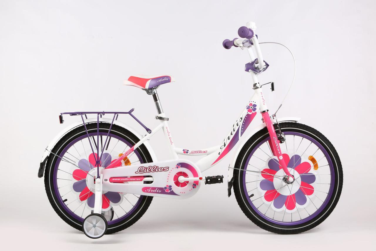 """Детский велосипед ARDIS LILLIES BMX 18""""  Белый/Фиолетовый"""
