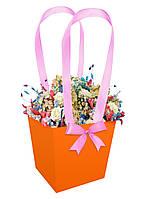 Бумажная сумка для букетов и горшечных цветов оранжевая