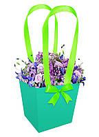 Бумажная сумка для букетов и горшечных цветов зеленая