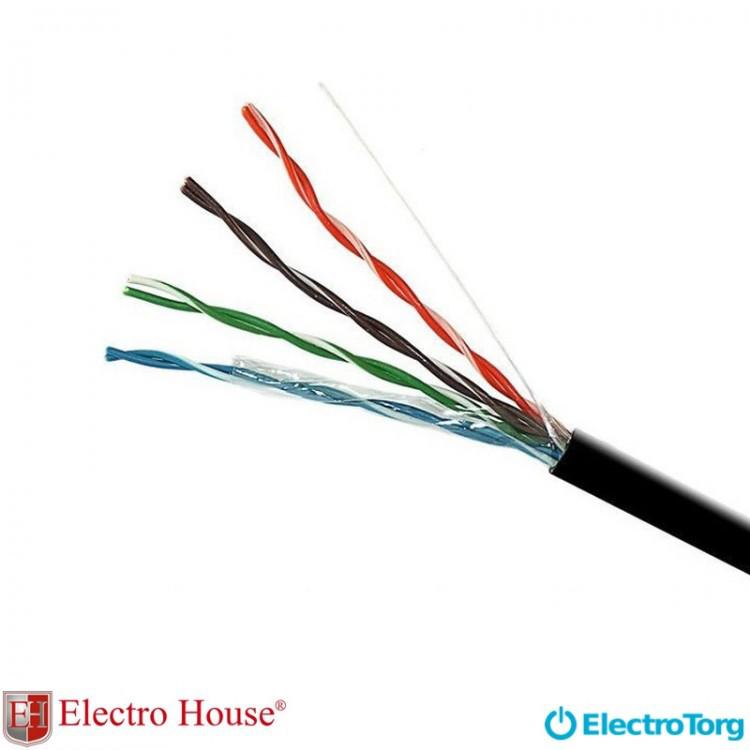 Кабель UTP cat5e 4х2х0,51 CCA ПЕ EH.LAN-25 черный с проволокой ElectroHouse
