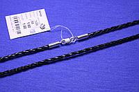 Кожаный шнурок с серебряным замком Плетенка 60 см 1420, фото 1