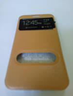 Чехол для Meizu M2 note Книжка кожзам «Ulike New» два окна, с силиконом, на магните gold