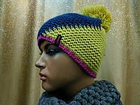 Молодежная шапка с бубоном Vegas TM Loman, шапка  флисе, сочетание цветов по диагонали, фото 1