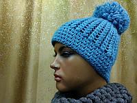 Двойная шапка с бубоном Agilera TM Loman,полушерстяная, цвет бирюзовый, фото 1