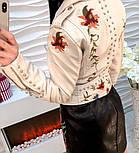 Женская куртка-косуха из эко-кожи с вышивкой, фото 4