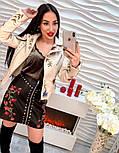 Женская куртка-косуха из эко-кожи с вышивкой, фото 5