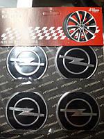 Наклейки на колпачки, заглушки, наклейки на диски 60 мм Opel Опель черные