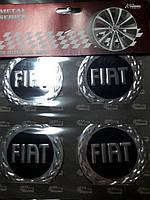 Наклейки на колпачки, заглушки, наклейки на диски 60 мм Fiat Фиат Черный