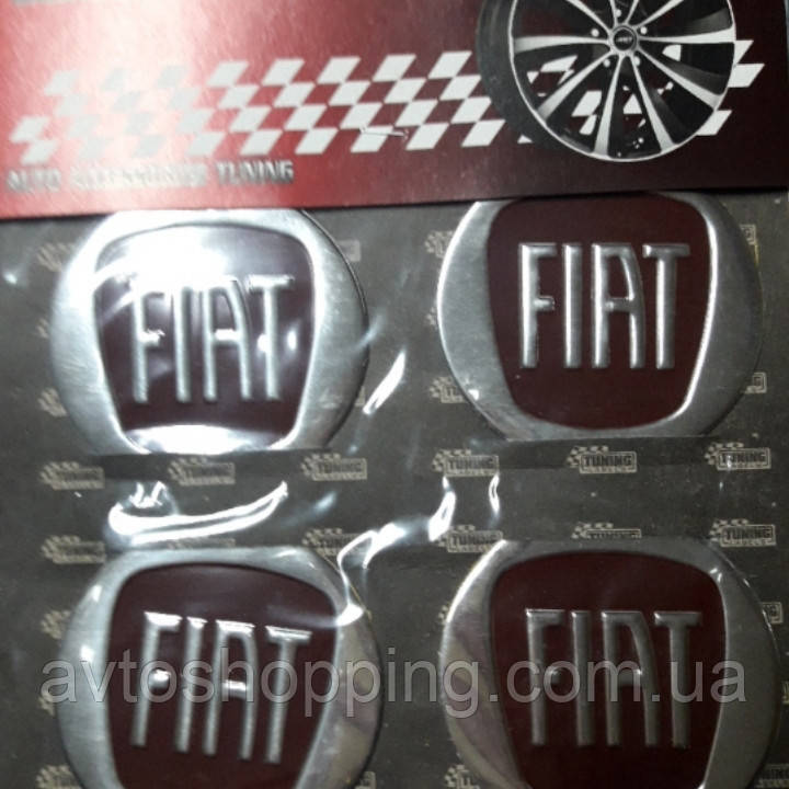 Наклейки на ковпачки, заглушки, наклейки на диски 60 мм Fiat Фіат Червоний