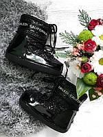Луноходы детские EMILEDI CALIFORNIA сапоги 30,31,32,33,34,35 размеры черные лакированные теплые зимние модные